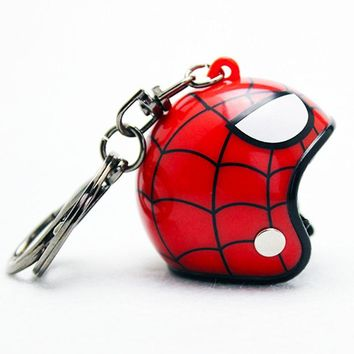 Zoeber Motorcycle Helmet Keychain Spiderman ironman Captain Cartoon Pendant Classic Key Ring Knight Hat Car Keychain men women