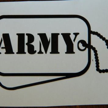 Army Dog tags DIY decal - Do it yourself projects - Military - Solider - USA - Freedom vinyl Decal - Car Decal - Army proud