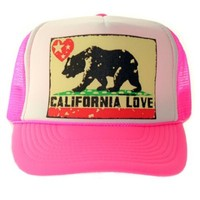 California Love Flag Snapback Mesh Truckers Cap - Pink/White One Size Fits Most