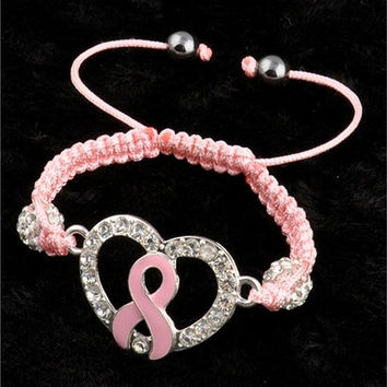 Crystal Pave Pink Ribbon Breast Cancer Awareness Connector Ball Bracelet (Color: Pink) [9305861383]