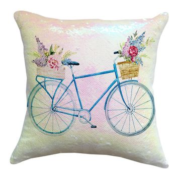 Flashing Sequins Bike Throwing Pillow Box Cafe Home Decoration Cushions