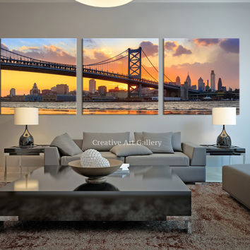 City Wall Art - Triptych Philadelphia Ben Franklin Bridge Skyline Canvas Art Print, Extra Large Philadelphia Sunset Wall Art Print
