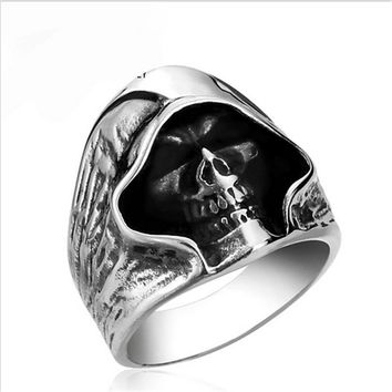 fashion Men Tough guy punk style Retro grim Reaper skull rings high quality 316L Biker free