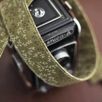 Moss Green Floral - Camera Strap Accessories for dSLR - Sling - fits SLR Cameras Nikon Canon