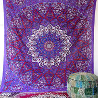 PURPLE MANDALA FABRIC Psychedelic Wall Hanging Bohemian Hippie Star Wall Tapestry Bedspread Boho Throw Mandala Bed Bedspread Home Decor Art