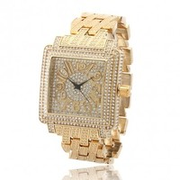 14K Gold Square Men's CZ Watch