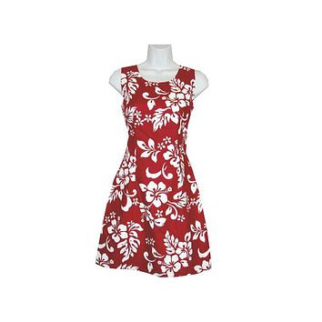 KY's Red with White Hibiscus Pattern Short Tank Dress