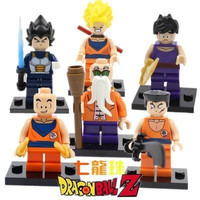 Dragonball Lego Superhero Minifigures -Goku Dragon Ball Z Set of 6 Multicoloured, 6PCS