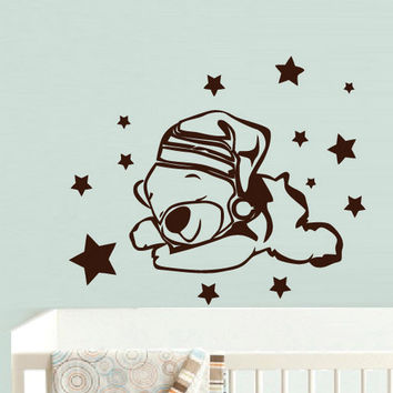 rvz737 Wall Decal Vinyl Sticker Decor Nursery Kids Baby Bear Stars Sleep