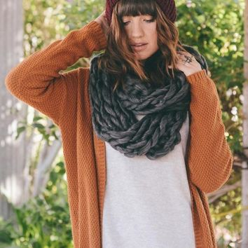 Ultra-Soft Charcoal Chunky Infinity Scarf
