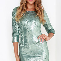 Swimming in Shimmer Aqua Blue Sequin Dress