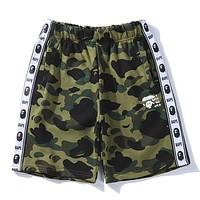 Bape Aape Popular Women Men Summer String Mark Print Green Camouflage Sport Shorts I12736-1