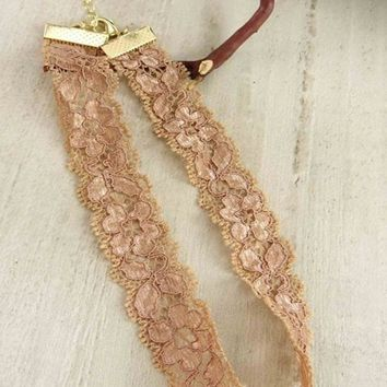 Rosey Glow Lace Choker Necklace FINAL SALE!