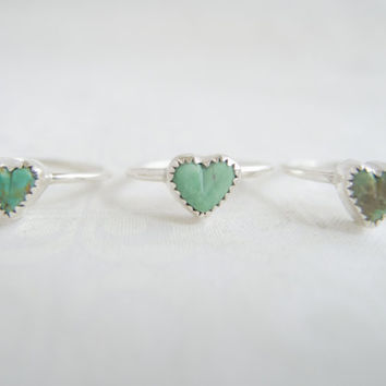 Sterling Silver Rings For Women, Turquoise Heart Ring, Sundance Style Jewelry, Boho Jewelry, Silver Rings For Women, Turquoise Ring, Hearts