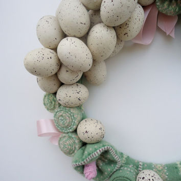 Easter Egg Wreath Pink & Green Fare Isle Upcycled Sweater Wreath Speckled Egg Wreath