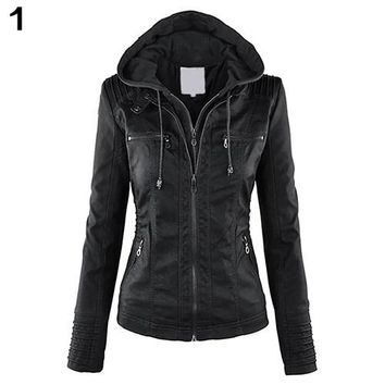 2017 New Fashion Women Convertible Collar Faux Leather Coat Detachable Hooded Jacket
