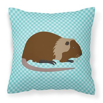 Coypu Nutria River Rat Blue Check Fabric Decorative Pillow BB8053PW1818