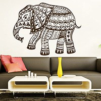 Wall Decal Elephant Vinyl Sticker Decals Lotus Indian Elephant Floral Patterns Mandala Tribal Buddha Ganesh Om Home Decor Bedroom Art Design Interior NS911