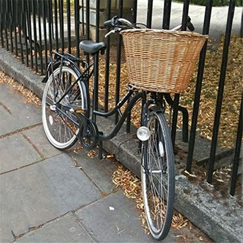 UpperX Wicker Bicycle Front Basket Retro Handmade With Leather Straps Brown Handle Linen Outdoor Picnic Cycling Accessories