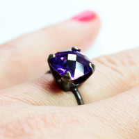 Mothers Day Gift SALE Oxidized Sterling Silver and Dark Amethyst Colored CZ Ring - Cushion Cut Cz - .925 Sterling Silver Ring - Amethyst Cub
