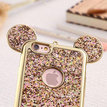 Case For iPhone 6 6S Plus Gold Frame Bling Glitter Sequins Back Cover Mickey Mouse Cases For iPhone 6 6S iPhone 6 Plus 6S Plus