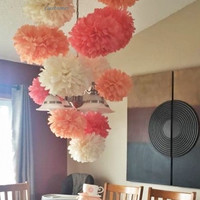 5 Tissue paper pom poms, Wedding, Baby, Bridal shower, Rehearsal, Party decorations. Hanging pom poms. Hanging flower ball