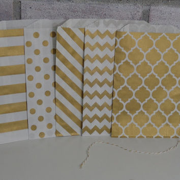 "25 Gold Shimmer Medium Paper Favor Bags - 5"" x 7.5"" - Treat Bags - Wedding Favors - Metallic Gold - Chevron - Polka Dot - Stripes"