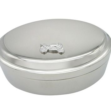 Silver Toned Motorcycle Pendant Oval Trinket Jewelry Box