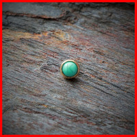 14k Gold Ring Round Dermal Top with Turquoise Color Stone