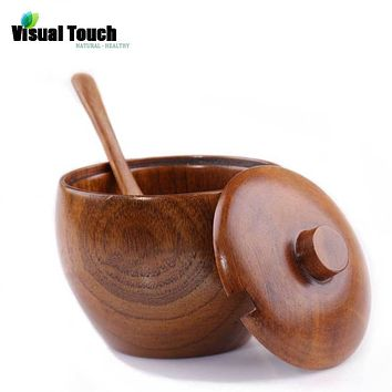 Visual Touch Nature Solid Wood Sugar Jar with Lid with Spoon Spice Bowl Salt Container