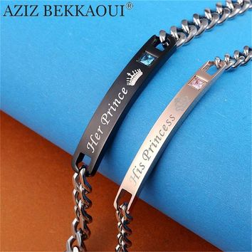 AZIZ BEKKAOUI DIY His Princess Her Prince Couple Bracelets Stainless Steel Crytal Charm Bracelets For Women Men Drop Shipping