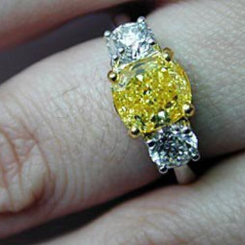 3.98ct Cushion Cut Fancy yellow Diamond Engagement Ring  GIA Certified JEWELFORME BLUE