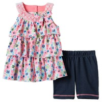 Little Lass Floral Tiered Top & Biker Shorts Set - Baby Girl