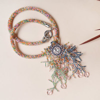Bead crochet necklace, beaded crochet rope, fringe necklace, statement necklace, colorful seaweed pendant, pastel necklace, beadwork jewelry
