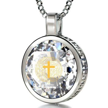 """Psalm 23"", 14k White Gold Necklace, Cubic Zirconia"