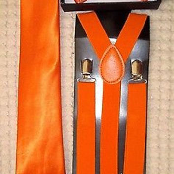 Awesome Neon Orange Bow Tie,Necktie, and Suspenders Combo Y-Back Set --New!
