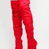 Red Faux Suede Thigh High Platform Boots