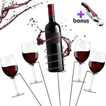 Picnic Wine Stakes Gift Set  Outdoor Drink Wine Bottle Holder and 4 Wine Glass Holder Corkscrew 6 Piece Set Best Wine Gift for Wine Lovers Gift Box
