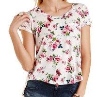 Ivory Combo Floral Print Flyaway Pocket Tee by Charlotte Russe