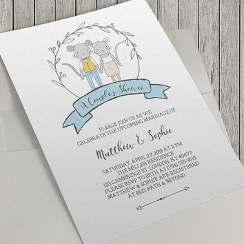 Printable Couple's Shower Invitation, Wedding Shower Invitation, 5x7 Inch, Charming Mouse Illustrations, Modern Wedding, Bridal, Celebration