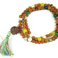 Yoga Mala- Meditation Mala Rudraksha Yantra Nine Planet Meditation Mala Necklace 108 Beads