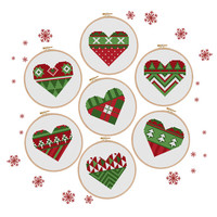 christmas cross stitch pattern, Set of 7, modern christmas hearts, merry christmas, modern cross stitch, instant download, PDF
