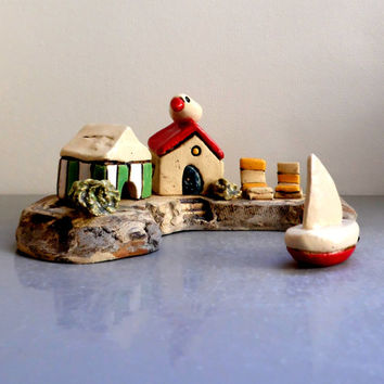 Ceramic sculpture , Ceramic houses , Ceramics and pottery , Keramik , töpferwaren , Ceramic handmade miniature houses , Anniversary gift