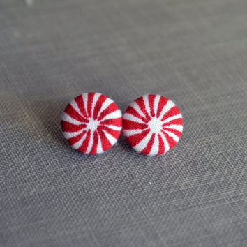 Fabric Button Earrings - Peppermint Buttons - Peppermint Fabric - Christmas - Red and White Earrings - Stocking Stuffers- Birthday Gift