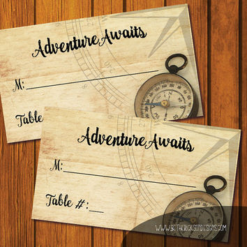Adventure Awaits Placecards / Flat Place cards / Folded Place cards / Instant download / DIY / Wedding Placecards / Placecards / Printable