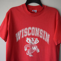 University of WIsconsin, Classic Bucky Badger, Red Athletic College Sports T-Shirt by Champion, Sz Medium // Collegiate Football Vintage