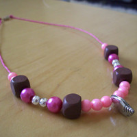 Pink Choco Cocktail Charm Necklace  Girly Kawaii by JirjiMirji