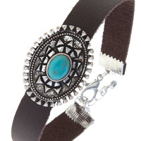 Mandela Oval of Turquoise Leather Bracelet