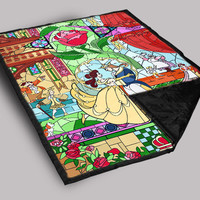 Beauty and Beast glass LaBelle Rose Throw Blanket