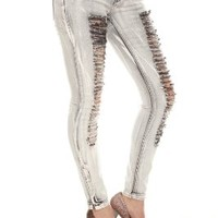 LOVEsick Distressed Bleach Grey Skinny Jeans Size : 5